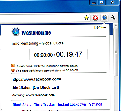 WasteNoTime: Chrome Time Management-værktøj med webstedsblokering