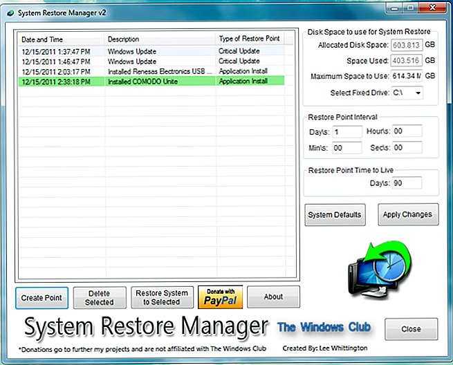 Fullt tilpasse Windows Restore Points med System Restore Manager
